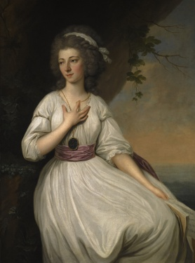 Portrait of a young woman in white holding a music book in her hands in a landscape
